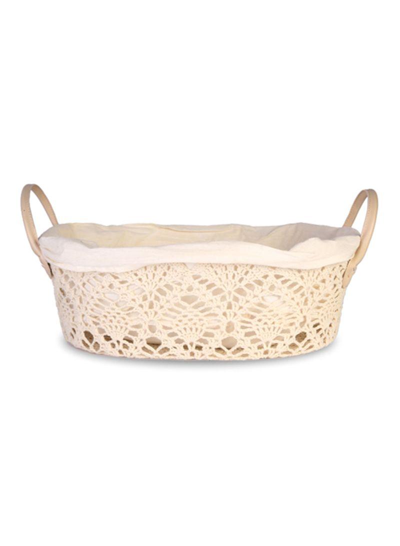 Shop homes r us Crochet Basket Beige 44x33x15 centimeter online in ... 5737bd2316