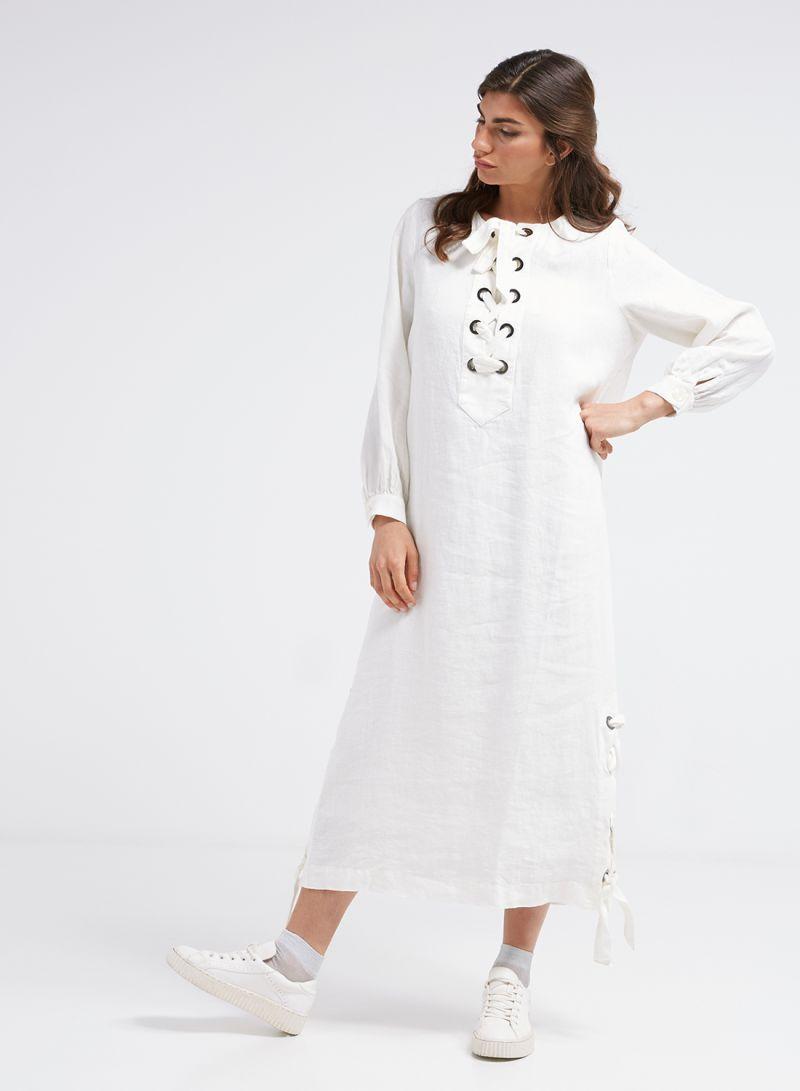 1805052afe White Long Sleeve Maxi Dress