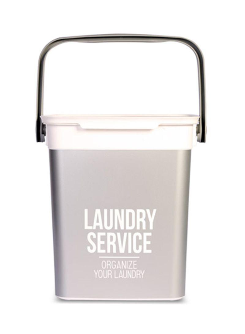 Shop homes r us Chic Laundry Hamper Grey White 25.5x23x25 centimeter ... 2c3f352cdb