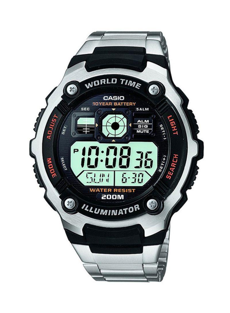 b67ed4275b60b طقم ساعات يد رقمية بسوار من الإستانلس إستيل طراز AE2000WD-1AVDF -  HDD600-1AVDF للرجال