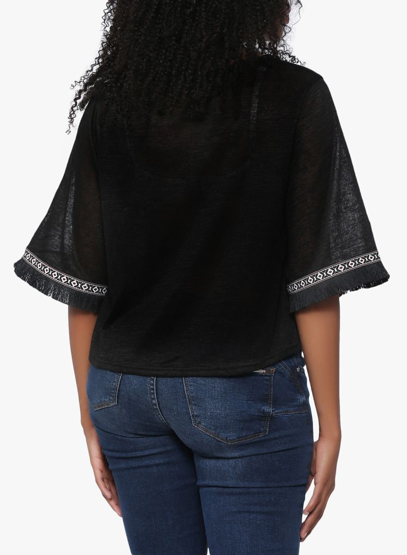 63136541505a Shop High Streets Knotted Front Top Black online in Dubai, Abu Dhabi ...