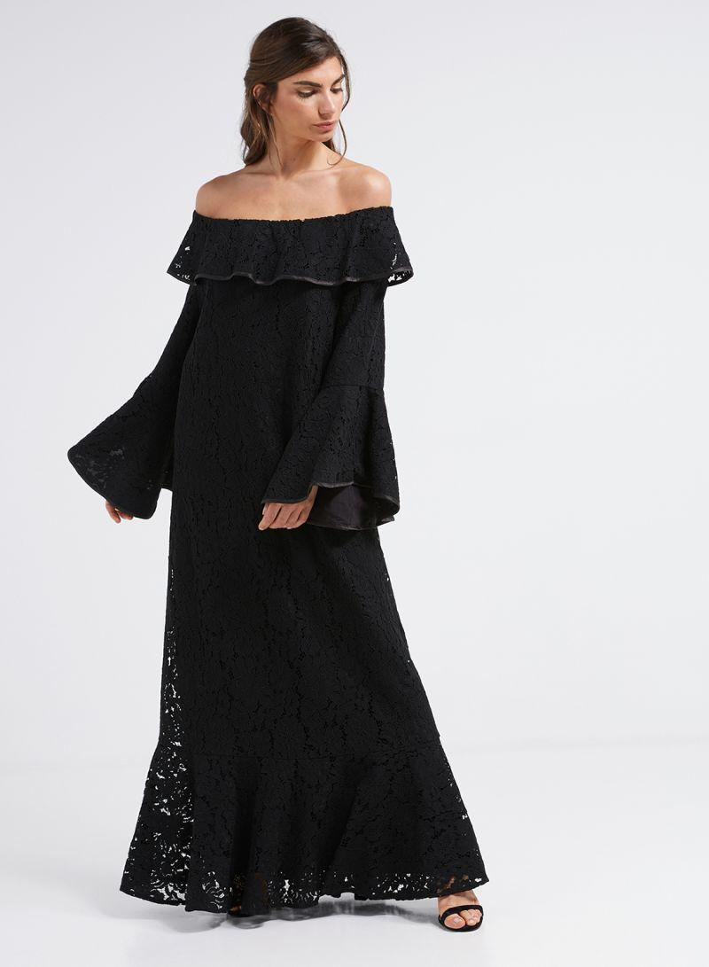 f0903a2dc تسوق انوتا وفستان طويل عاري الكتفين مزين بقطعة من الدانتيل أسود ...