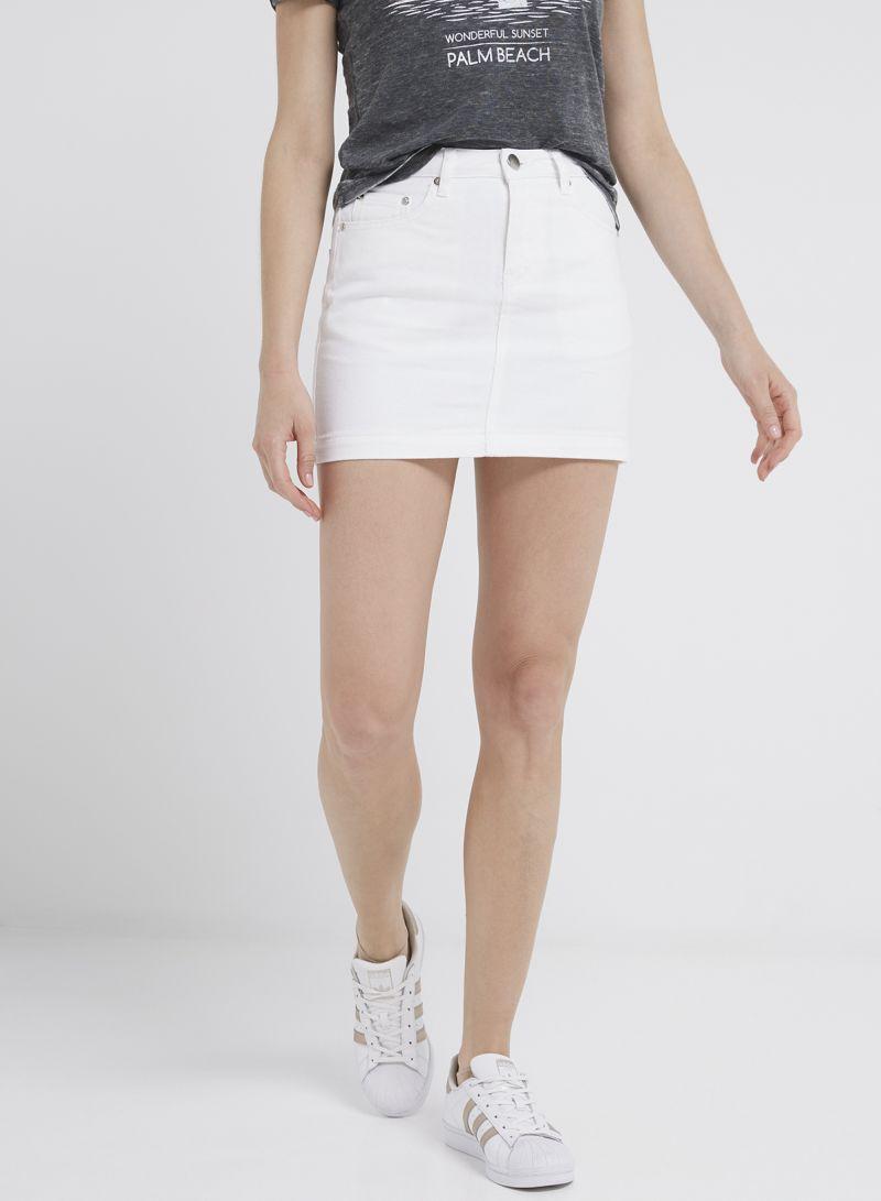 c3f2110a59dc Shop Forever 21 Denim Mini Skirt White online in Riyadh, Jeddah and ...