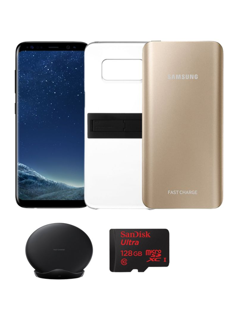 quality design 7d04d 81d59 Shop Samsung Galaxy S8 Dual SIM Midnight Black 64GB 4G LTE With KickTOK  Cover, Sandisk 128GB MicroSD Card, 5200mAh Battery Pack And Fast Charge ...