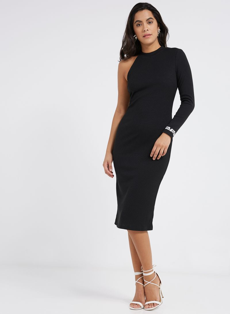 Shop ICONIC One Sleeve Bodycon Dress Black online in Dubai 974a7c1db