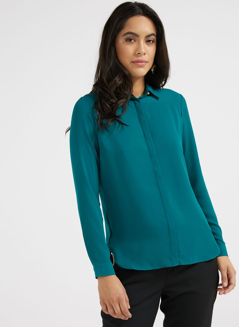 8aba2daa411815 Shop ICONIC Long Sleeves Side Slit Shirt Emerald online in Dubai ...