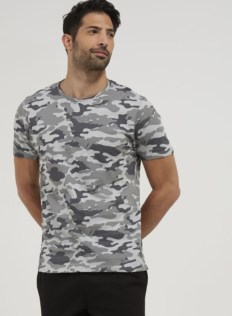 b7017cc32597f Shop Brave Soul All Over Camo Print Detail T-Shirt Grey online in ...