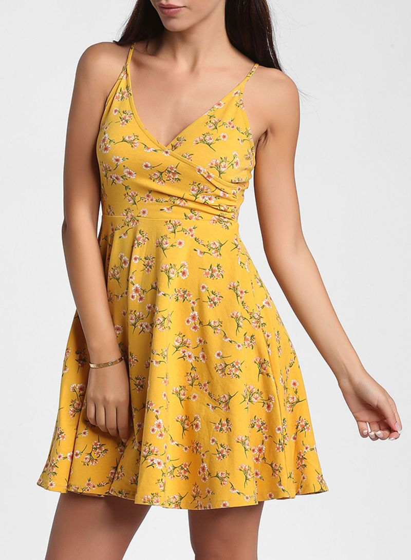ccf461a588be Shop Forever 21 Yellow Floral Print Cami Dress Yellow online in ...