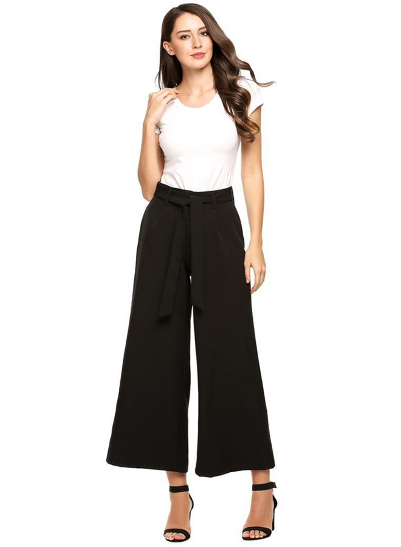 08c54ece74a972 Shop Generic High Waist Striped Culottes Wide Leg Pants With Belt ...