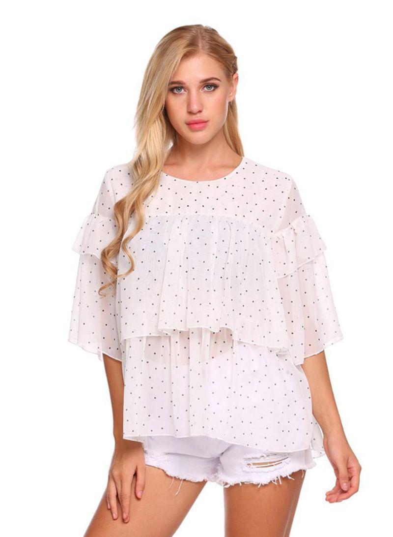 b76ca0589c5462 Shop Generic Half Sleeve Dot Ruffle Tiered Chiffon Top White online ...