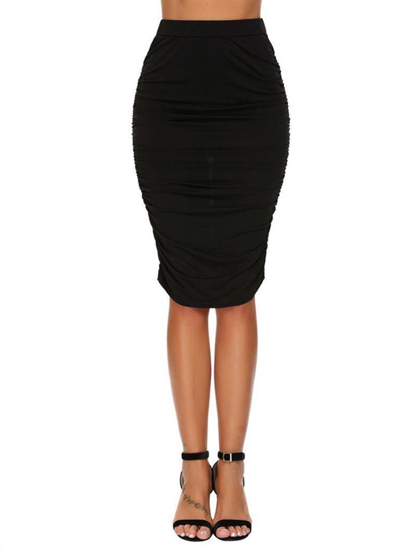839af3df4 Shop Generic Elastic High Waist Knee-Length Shirring Pencil Skirt ...