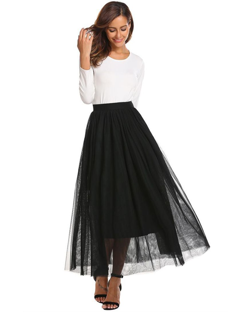 ca527261e Shop Generic Waist Mesh Large Swing Pleated Skirt White online in ...