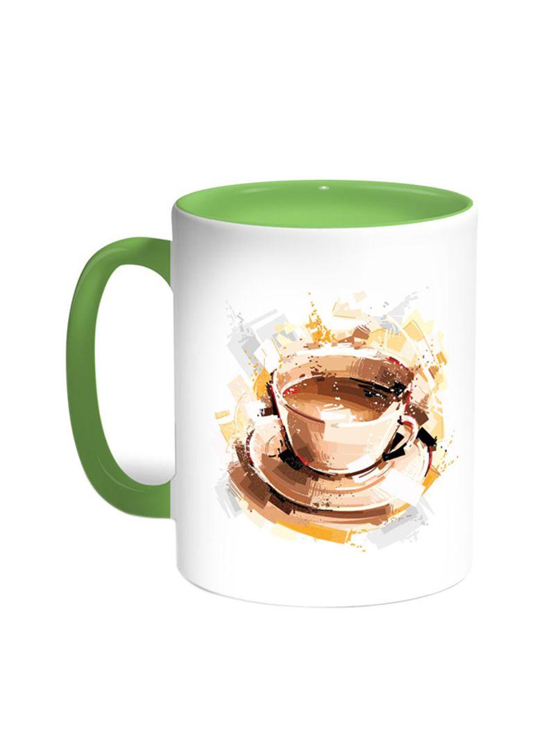 shop decalac cup of coffee printed coffee mug green white 11 ounce