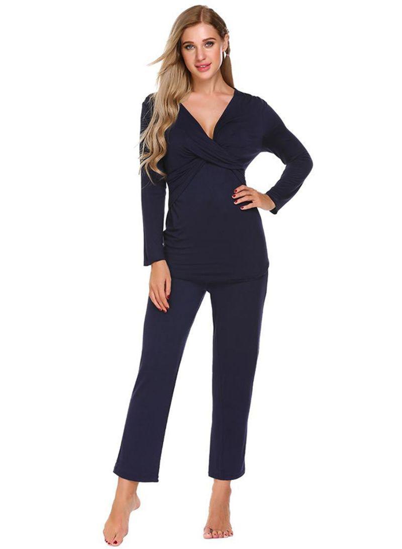 1f87798841518 Shop Unbranded V Neck Long Sleeve Top And Nursing Pyjamas Sleepwear ...