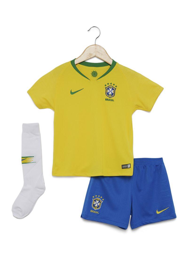 9f79bbba2 Shop Nike Brazil CBF Football Away Kit Yellow Blue White Green ...