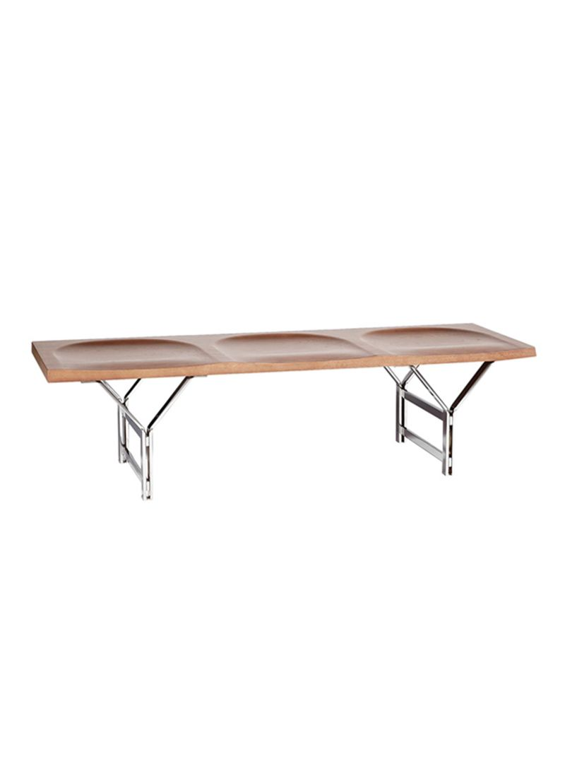 Remarkable Shop Ebarza Retro Solid Wood Bench Brown Silver 155X46X42 5 Beatyapartments Chair Design Images Beatyapartmentscom