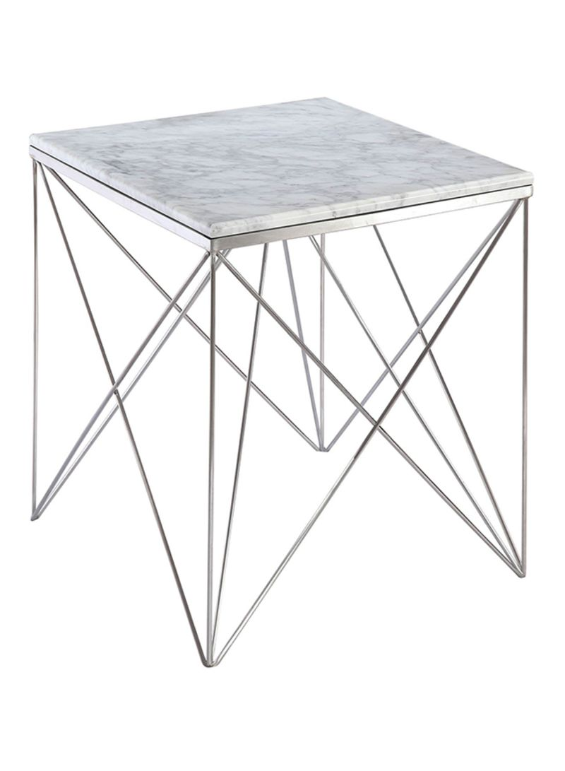 Picture of: Shop Ebarza Natural Marble Table White Silver 55x52x55centimeter Online In Dubai Abu Dhabi And All Uae