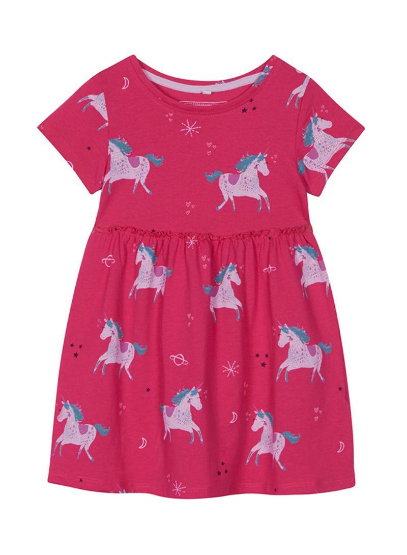 Bluezoo Kids Girls/' Bright Pink Zebra Print Dress