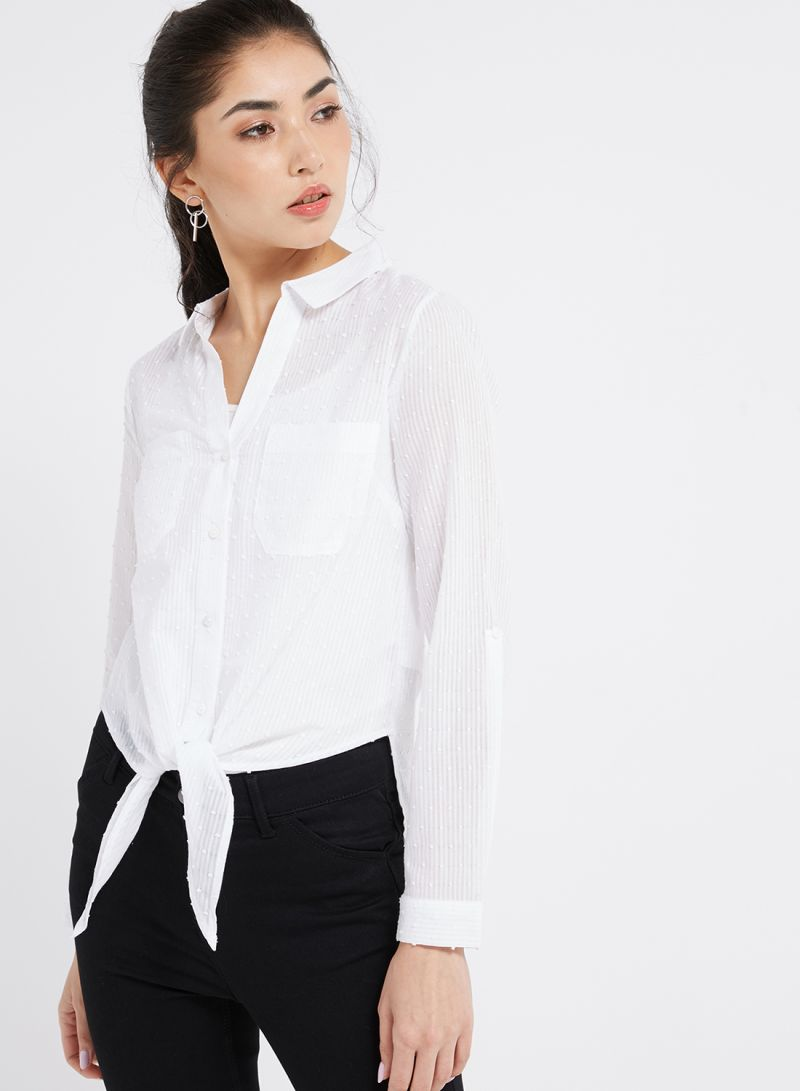 953fbfc78f86 Shop Oasis Cotton Dobby Tie Front Shirt White online in Dubai, Abu ...