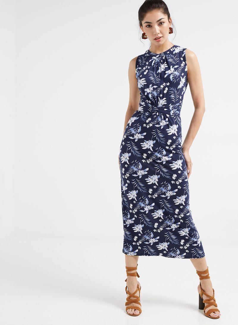 5ec063529018 Shop Oasis Paradise Palm Grecian Midi Dress Blue online in Dubai ...