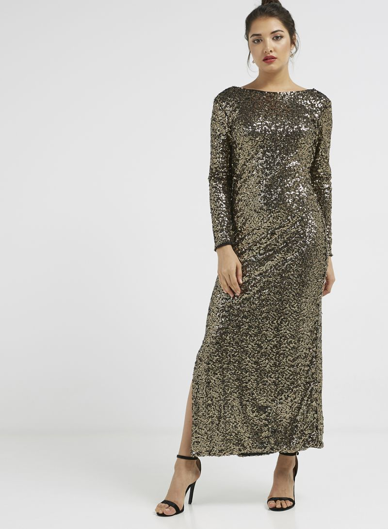 56fb3674a587 Shop I Saw It First Long Sleeve Sequin Design Maxi Dress Gold/Black ...