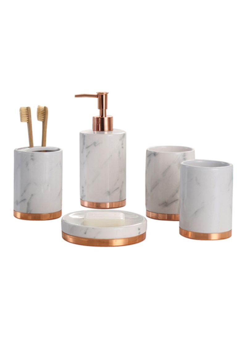 Shop YupFun 3 Piece Marble Bathroom Accessories Set White online