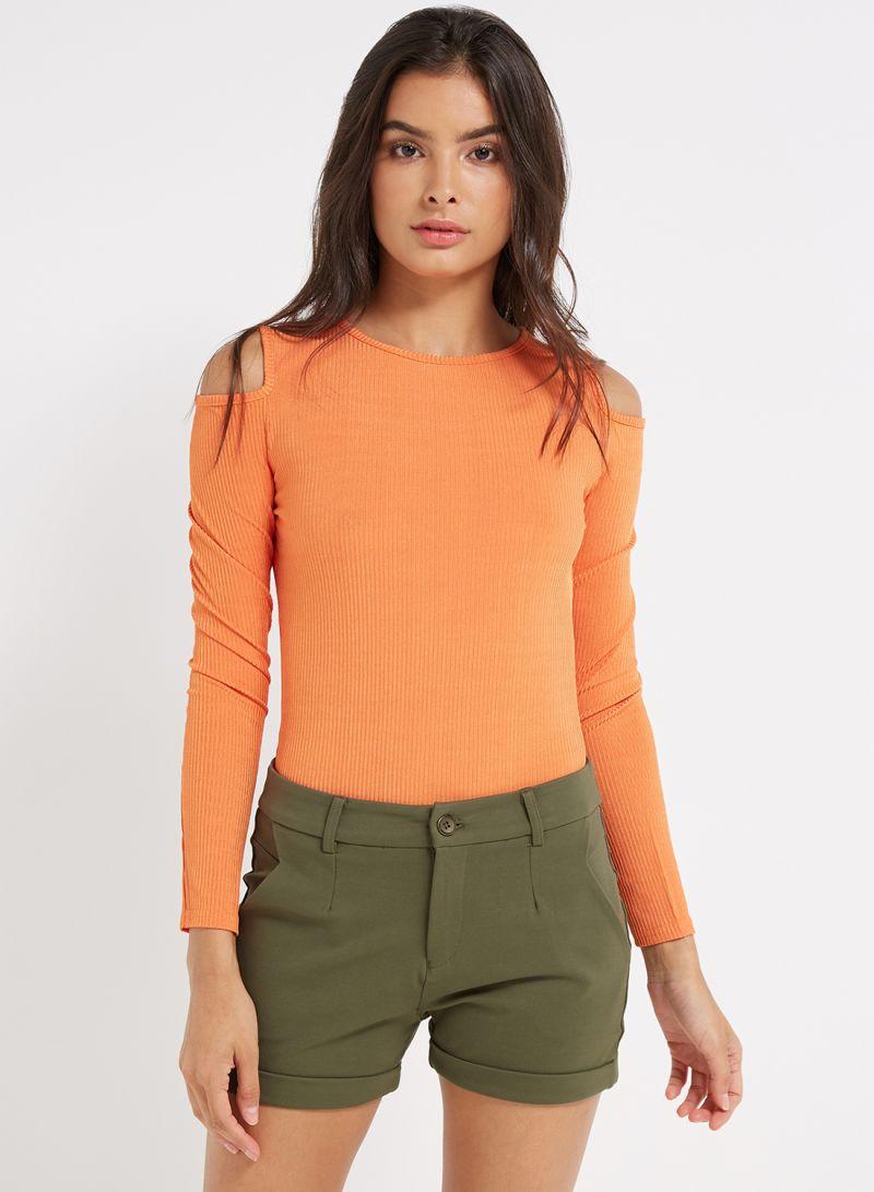 Shop I Saw It First Shiny Rib Cold Shoulder Bodysuit Orange online ... 931db6ee5