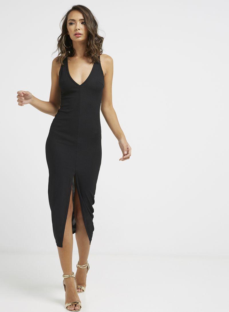 Shop I Saw It First Ribbed Plunge Split Front Midi Dress Black ... f5d1232dc