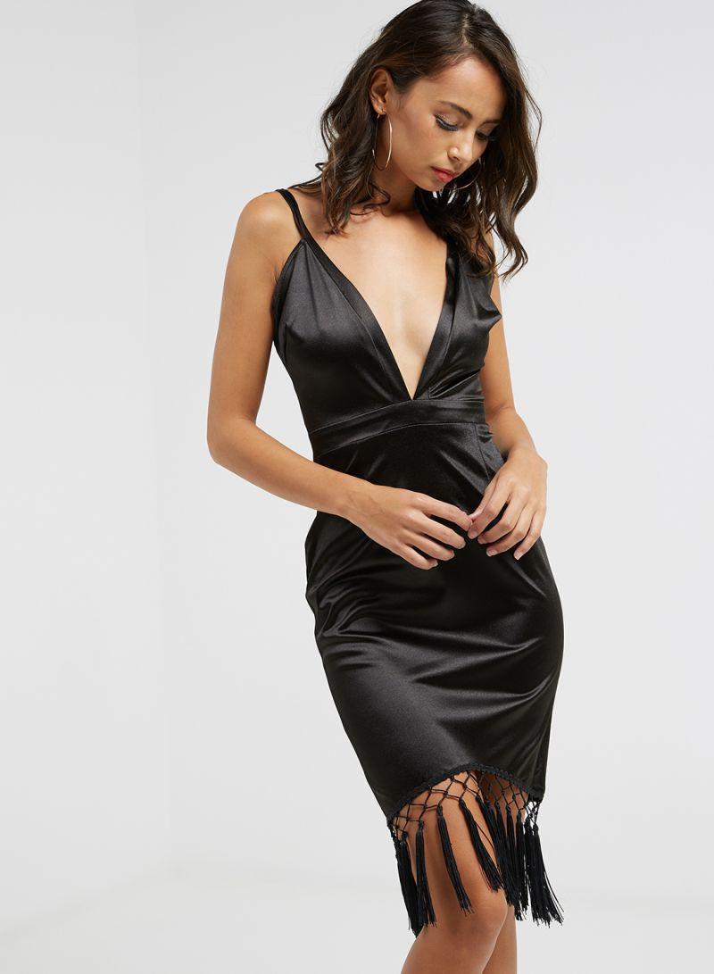 5c1846f66f Shop I Saw It First Harness Neck Tassled Midi Dress Black online in ...