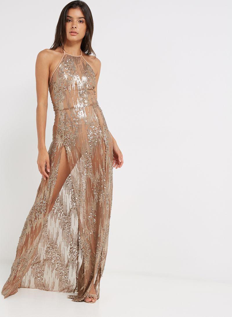 57ba90ff0e Shop I Saw It First Halter Neck Maxi Dress With Bodysuit Gold online ...
