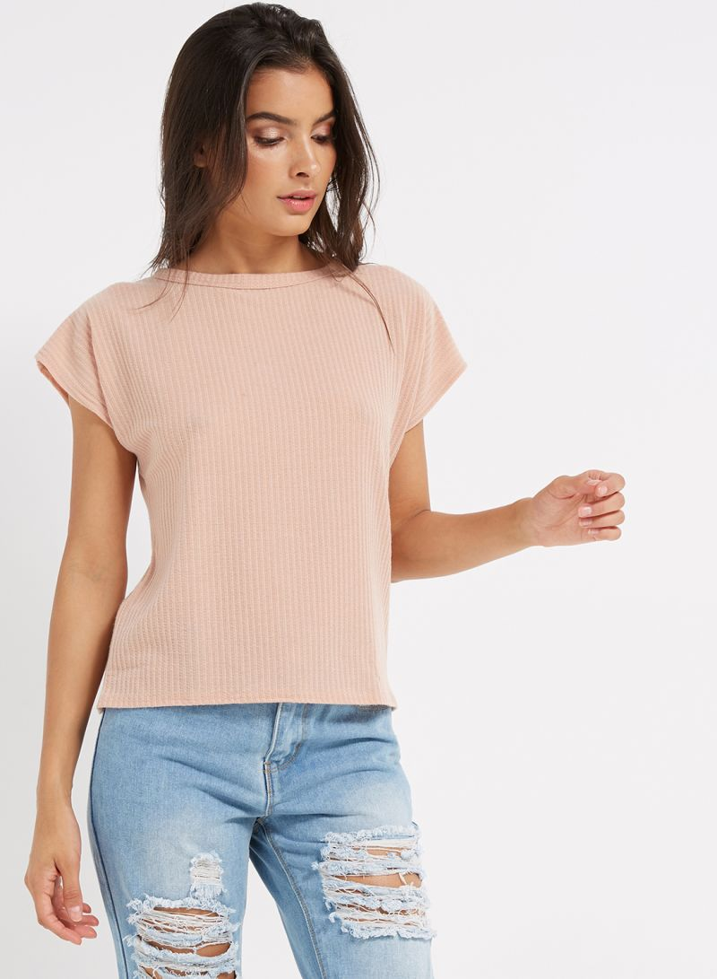 d4be9e77 Shop I Saw It First Ribbed Crew Neckline Short Sleeve T-Shirt Pink ...