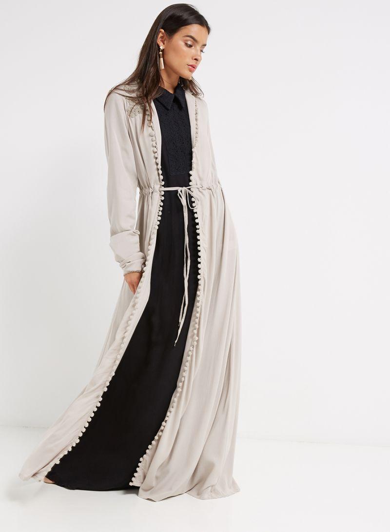61999424b35a2 Shop Debenhams Aab Collection Crochet Flare Kimono Grey online in ...