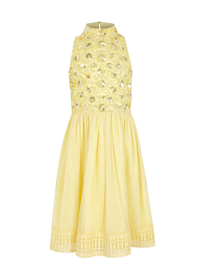 Shop River Island Girls Emily 3d High Neck Dress Yellow