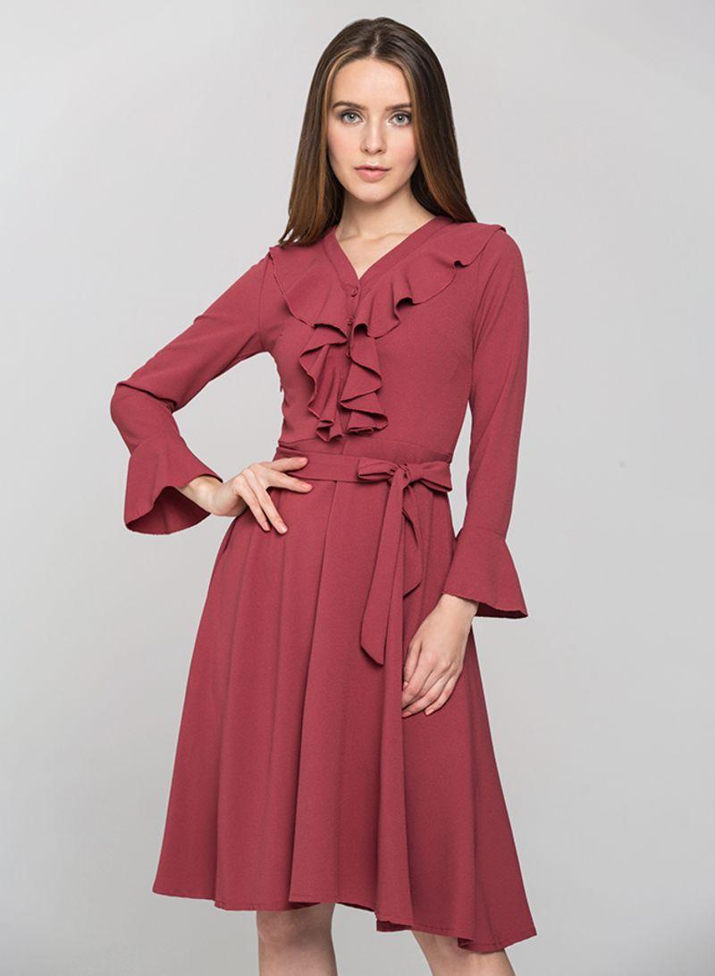 e5d4208aa58d9 Shop OwnTheLooks Ruffled Gabot Midi Dress Red online in Dubai, Abu ...