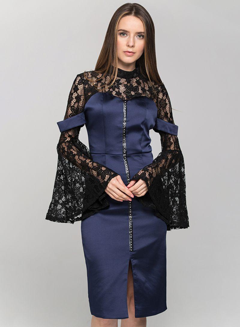 c1b8d6a8d1 Shop OwnTheLooks Lace Yoke Sleeved Midi Dress Blue/Black online in ...