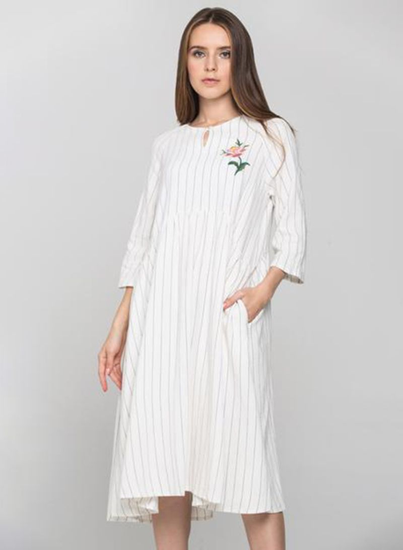 c0d252656cded Shop OwnTheLooks Pin Stripe Sleeved Midi Dress White online in Dubai ...