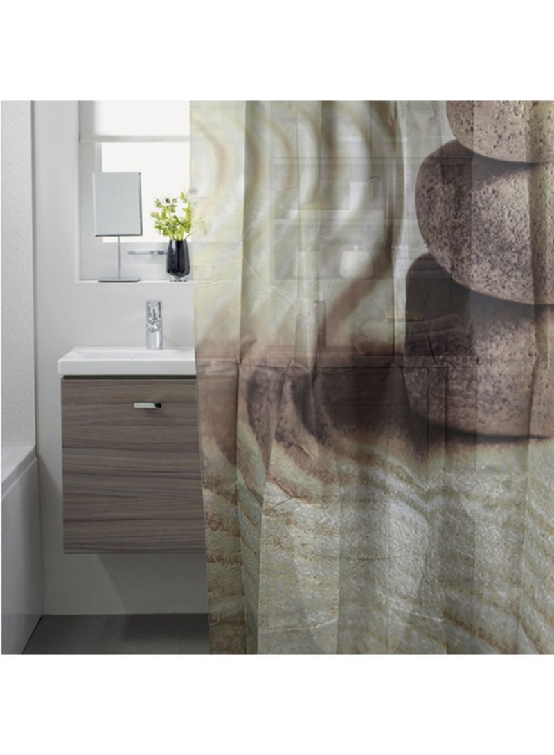 Shop Homes R Us Pebble Sand Printed Shower Curtain Multicolour