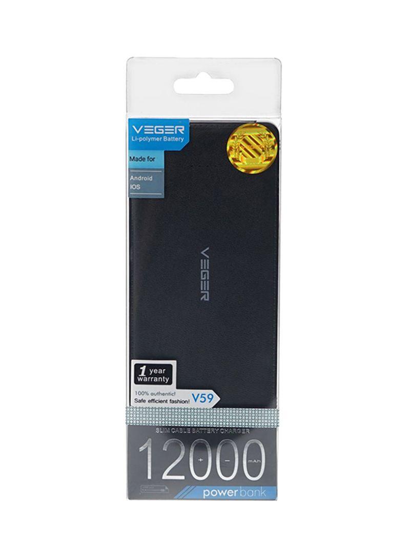 Shop Vegar Power Bank 12000 Mah Black Online In Dubai Abu Dhabi And Powerbank Veger 12000mah Imagegalleryimg