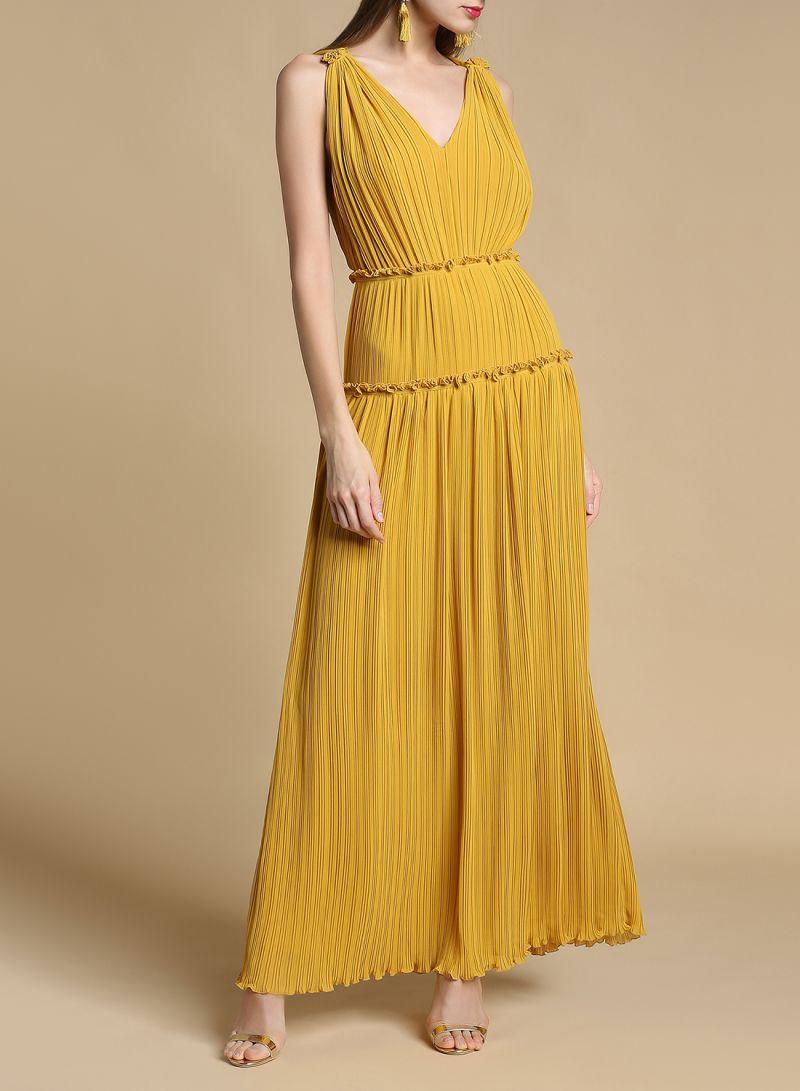 e4e8655f813 Shop REISS Gigi Pleated Maxi Dress Yellow online in Egypt