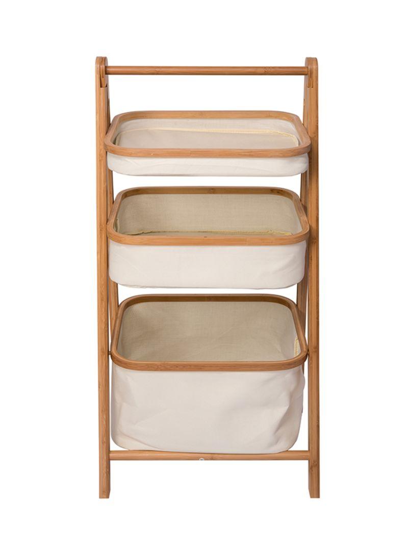 fbddec1ba Shop NICE 3-Basket Foldable Ladder Shelf White Brown online in Dubai ...