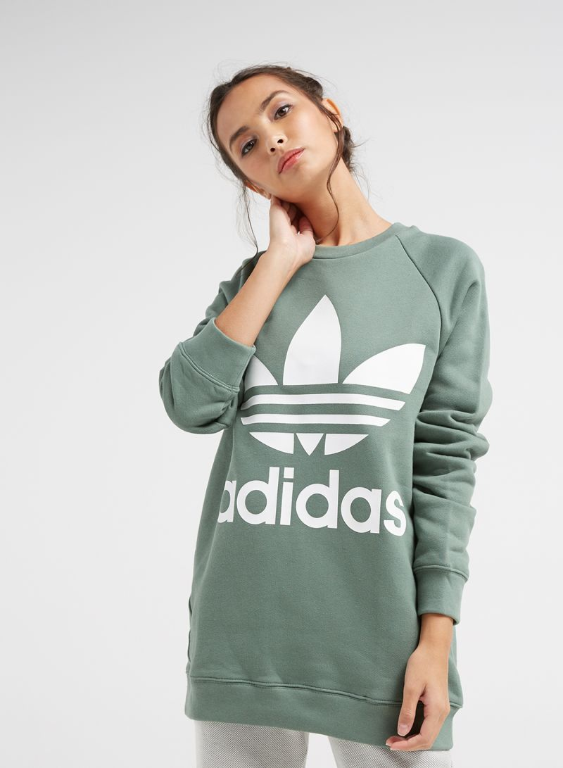 official price competitive price cheap prices Shop adidas Originals Round Neck Oversized Sweatshirt Green online in  Riyadh, Jeddah and all KSA