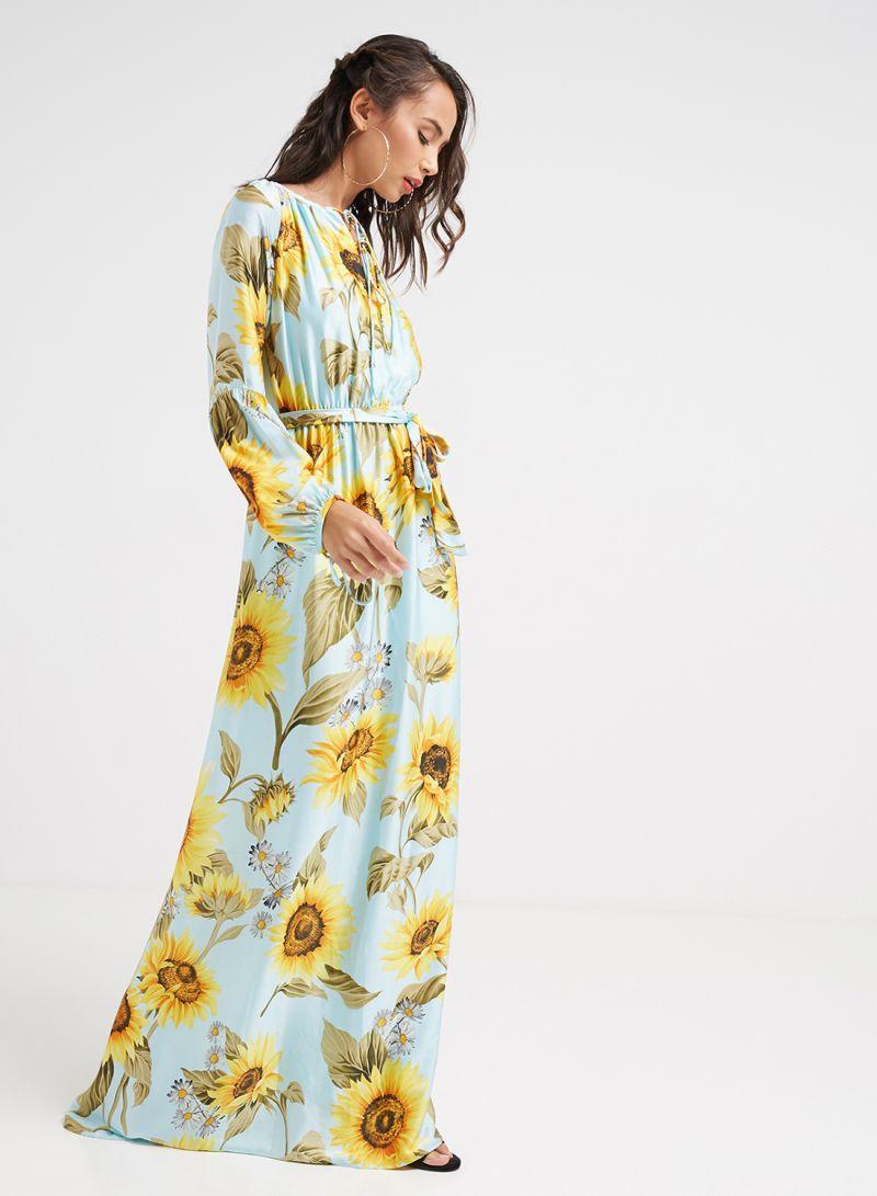8a70b16c6 تسوق سدن وفستان طويل مطبوع عليه نقشة الزهور أزرق/أصفر/أخضر أونلاين ...