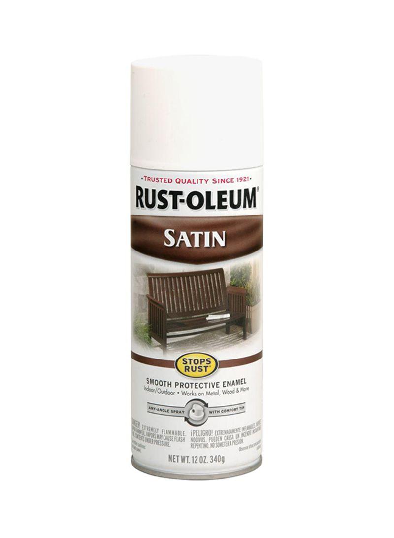 Shop Rust Oleum Satin Enamel Spray Paint White 12 Ounce Online In Dubai Abu Dhabi And All Uae