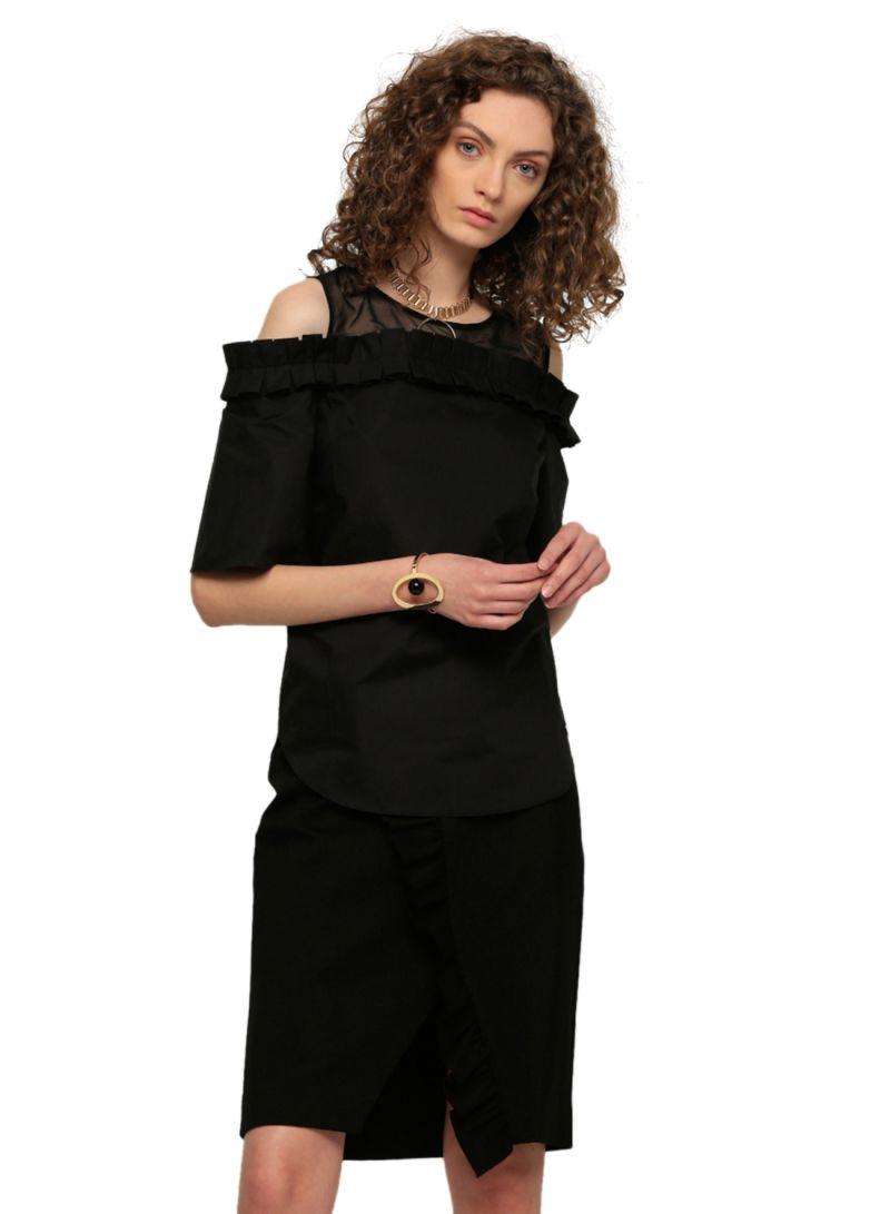 41417d8503da44 Shop ELLE Cold Shoulder Pleated Top Black online in Dubai