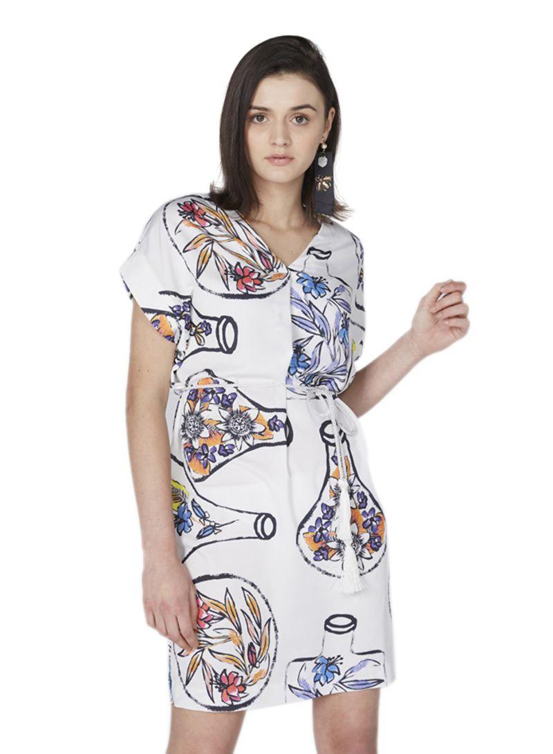 4bbde47bc50815 Shop ELLE Short Sleeve Belted Dress White online in Dubai