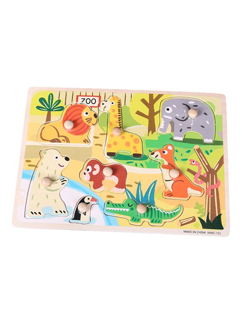 4048159b25bb Shop Alostoura Wooden Zoo Hand Catch Puzzle With Knob 30x22.5x1.6 ...