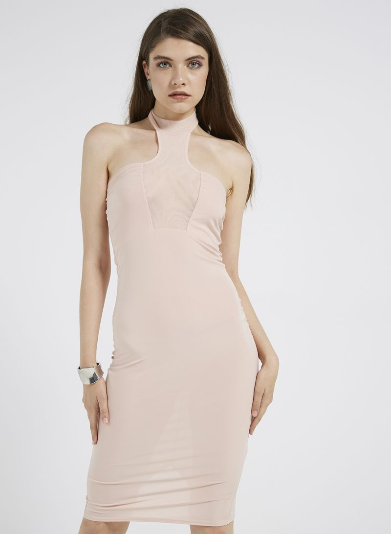 Shop I Saw It First High Neck Mesh Panel Midi Dress Beige online in ... 92dbd2140