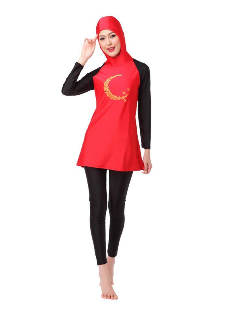 64429ef904131 تسوق ماركة غير محددة وملابس سباحة بوركيني إسلامية طويلة الأكمام أحمر ...
