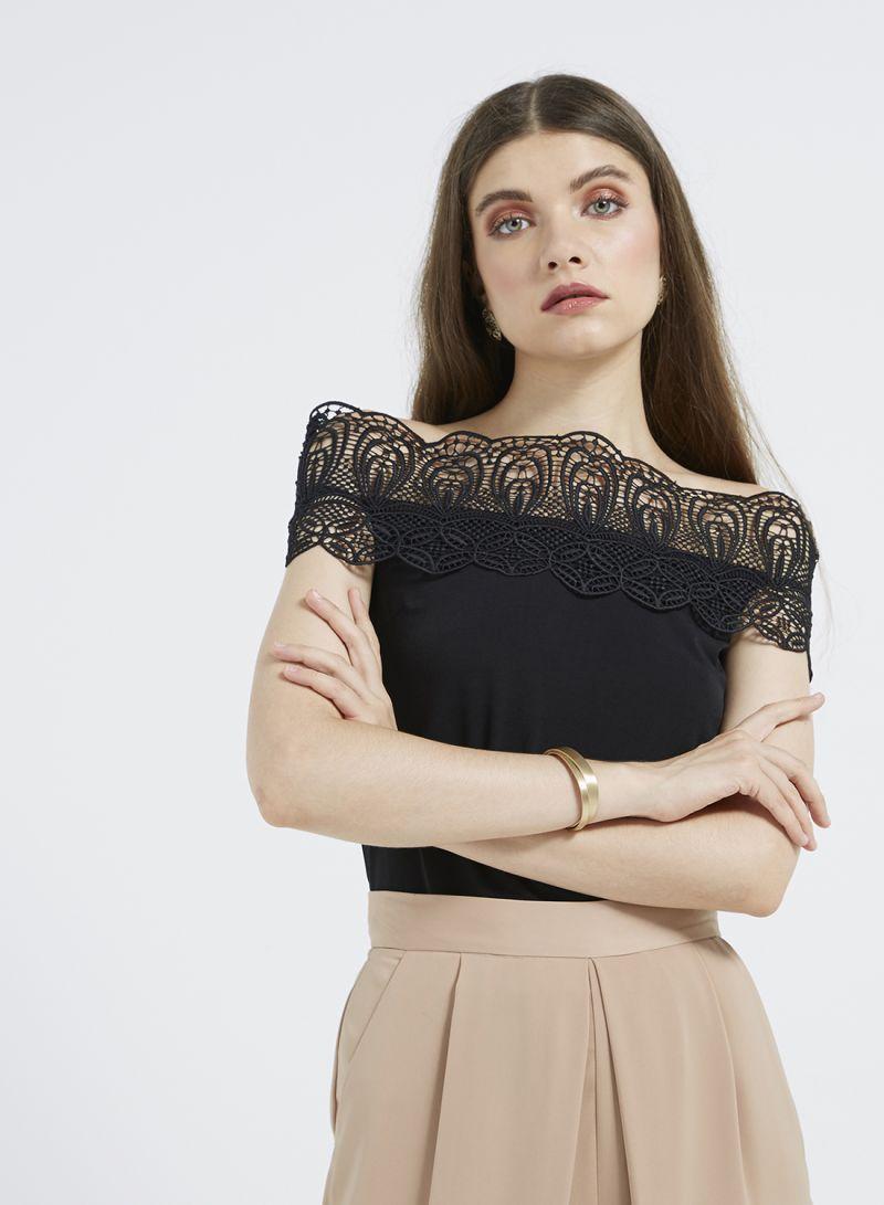 0e0cd6eeda0 Shop ELLE Off Shoulder Lace Top Black online in Dubai, Abu Dhabi and ...