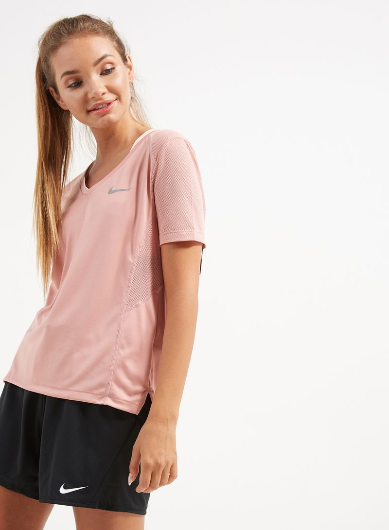 best website 74ad4 a7a82 Shop Nike Miler V Neck T-Shirt Rust Pink online in Riyadh, Jeddah ...